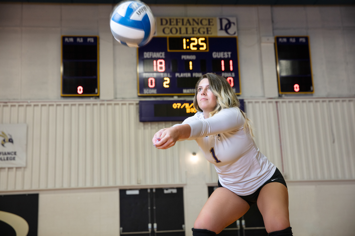 Defiance College Volleyball Player in action
