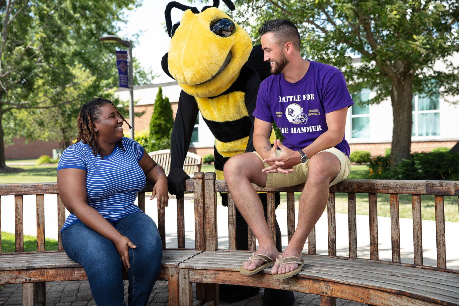 Defiance College Students and Mascot
