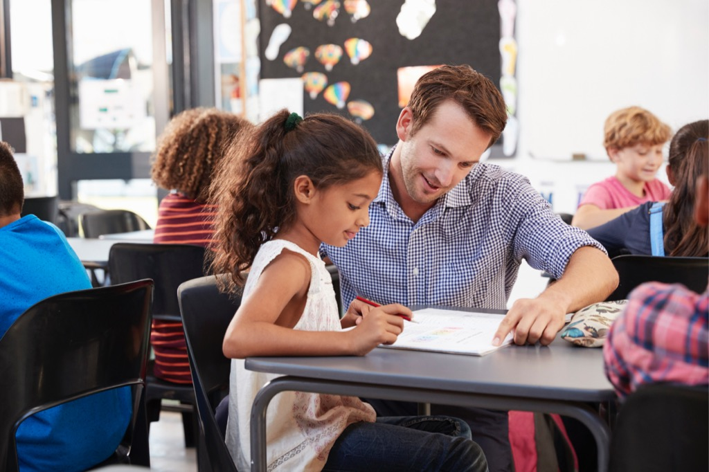 Teacher working with student in classroom