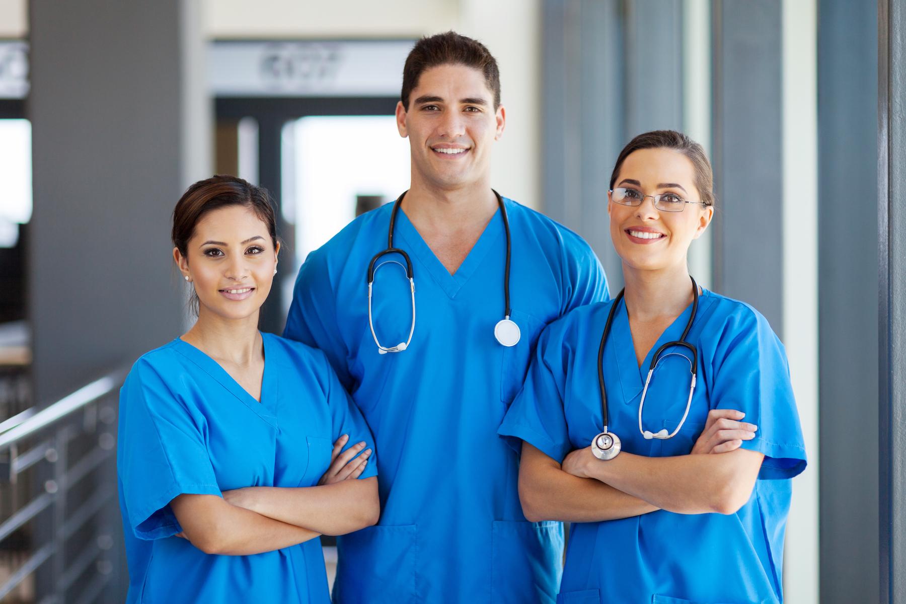 Group of nurses in hospital hallway